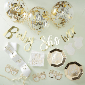 """Baby Shower in a Box, Guld """"Oh Baby!"""" Party Kit"""