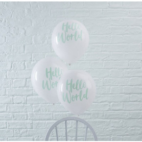 """Hello World"" Minty Babyshower Latexballoner"