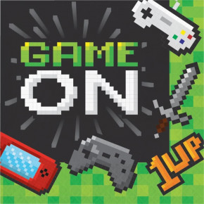 Gaming alá Minecraft Servietter - Game On! 16 stk.