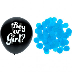 "Gender Reveal Dreng - 3 x Sorte ""Boy or Girl?"" Balloner, 41 cm"