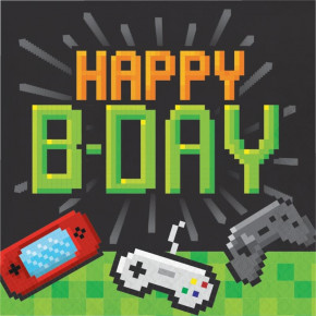 Happy B-Day Gaming alá Minecraft Servietter, 16stk