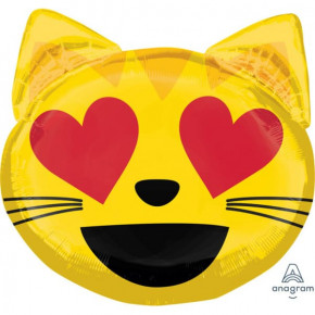 Cat with Heart-Eyes Emoji SuperShape Folie Ballon, 55 x 55 cm