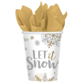 "Hvide Kopper m/Juleprint ""Let it Snow"" 266ml, 8 stk."