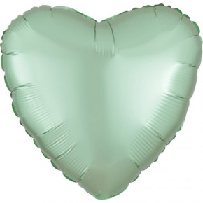 Satin Luxe Folieballon Hjerte, Matte Finish Mint