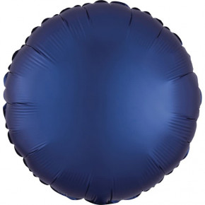 Satin Luxe Folieballon Rund, Matte Finish Navy