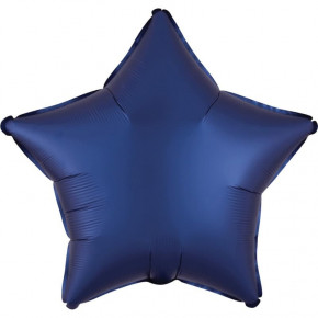 Satin Luxe Folieballon Stjerne, Matte Finish Navy