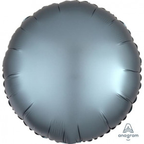 Satin Luxe Folieballon Rund 17'' - Matte Finish Stålblå