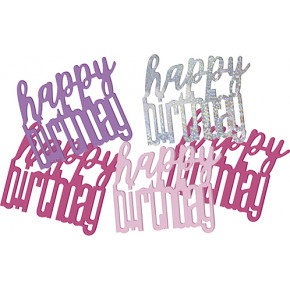 Pink Glitz Konfetti - Happy Birthday