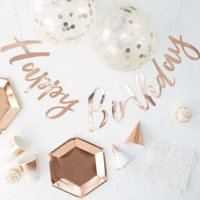 Happy Birthday in a Box, Rosegold Fødselsdags Kit