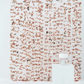 Rosegold Foliegardin med Blomster til Photobooth Backdrop