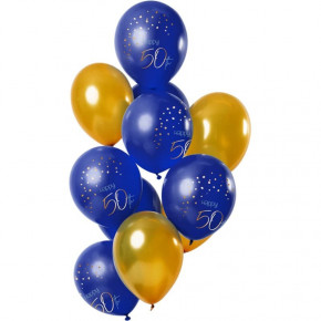 "True Blue Ballon Buket - ""Happy 50th Birthday"""
